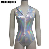 Summer Holographic Musical Festival Rave Wear Clothes Outfits Gear Silver Hoodies Bodysuit Hologram Women Jumpsuit