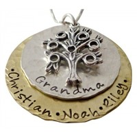 mixed metal family tree necklace