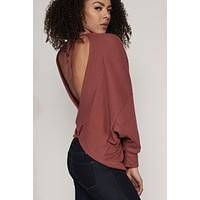 Back Off Open Back Sweater (Red Brown)
