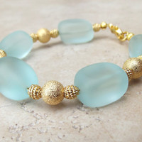 Aqua Sea Glass Bracelet:  Mint Green and Gold Chunky Beaded Beach Jewelry, Resort Wear Accessory