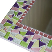 Mosaic Wall Mirror, Pink Purple Green Yellow, Nursery Decor