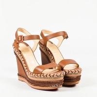 """Christian Louboutin """"Cognac"""" Brown Leather """"New Duplice"""" Wedges"""