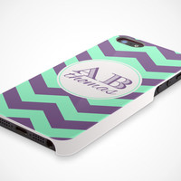 iPhone 5 Cell Phone Case Chevron Custom Color Chevron Monogram Apple Personalized Initials Name Protective White Plastic Hard Cover VM-1057