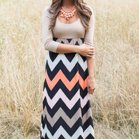 Chevron Print  half Sleeve Maxi Dress