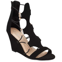 Women's Strappy Cut Out Ankle High Wedge Sandals