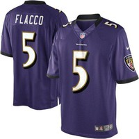 Nike Youth's Baltimore Ravens Joe Flacco Football Jersey Stitched Numbers And Letters Purple/Black/Gold
