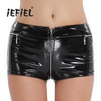 iEFiEL Black Womens Welook Patent Leather Zippered Open Crotch Boxer Shorts for Sexy Club Slim Fit Shorts Dancing Nightclub