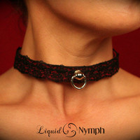 Liquid Nymph- Justine. Slim Ruby Leather Collar with Black Lace Overlay