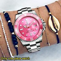 Rolex New fashion metal watchband couple watch wristwatch Rose Red