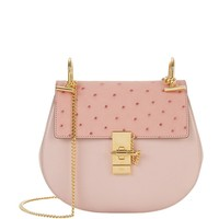 Chloé Small Drew Leather and Ostrich Shoulder Bag in Pink | Harrods