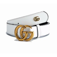 GUCCI Fashionable Woman Men GG Smooth Buckle Leather Belt White