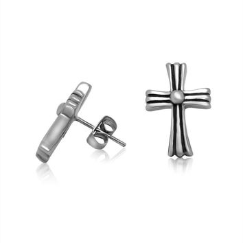Stylish Cross Men Titanium Earring Strong Character Accessory [6542630339]