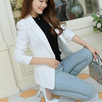 White/Black/Pink Women Blazers And Jackets Plus Size 2017 Spring Autumn Single Button Blaser Female Elegant Blazer Long Sleeve