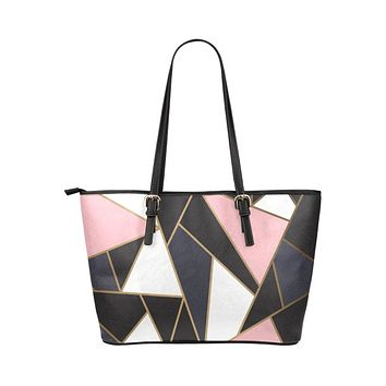 Tote Shoulder Bag with Black and Pink Geometric Design