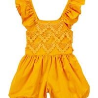 Mustard Lace-Accent Angel-Sleeve Romper - Infant & Kids