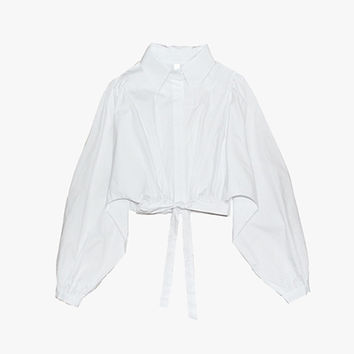 White Oversize Sleeve Crop Blouse