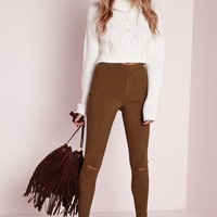 Missguided - Ripped Knee Pull On Treggings Camel