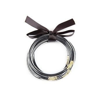 SB4369 - FIVE LINE METALLIC TUBE BANGLE BRACELET