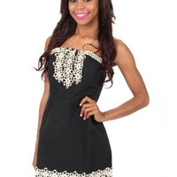 Standing On The Sun Black Strapless Dress | Monday Dress Boutique