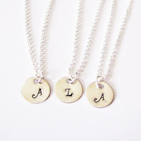 3 Best Friend necklaces, initial necklace, sister necklace set, mother daughters jewelry, personalized jewelry, monogrammed gift, three disk