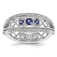 SS Stackable Expressions Created Sapphire/Created White Sapphire Flip Ring