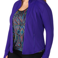 Plus Size - Sapphire Dream Zip Front Jacket With Fabric - Sapphire Dream