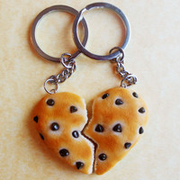 polymer clay chocolate chip cookie bff keychains best friend heart shaped