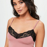 Missguided - Pink Lace Trim Bralette