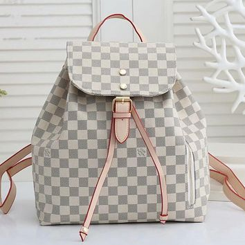 LV Louis Vuitton hot sale retro ladies shopping backpack school bag White tartan