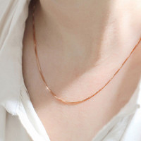 Women Necklace Jewelry Rose Gold Collares Chain Necklaces For Men & Women Gift for girl CF