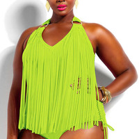 Plus Size Neon Yellow Fringe Embellished Halter Swimwear