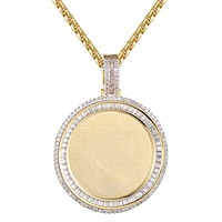 Baguette Row Picture Circle Memory Round Frame Icy Pendant