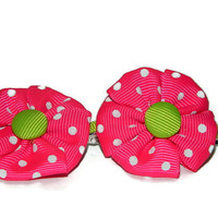 Pink Flower Hair Clips, Girls Flower Barrettes, Set Of Two Hair Bows, Fabric Hair Acessories