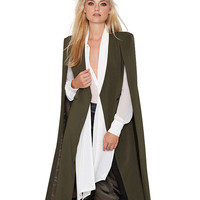 V-neck Cape Long Trench Coat