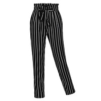 Stretchy High Waisted Slim Straight Leg Casual Striped Pants (CLEARANCE)