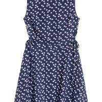Patterned dress with lacing