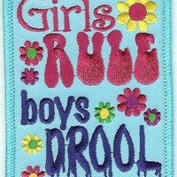 Girls Rule Boys Drool Iron-On Patch