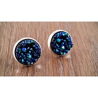 Druzy earrings-  ocean blue drusy silver tone stud druzy earrings