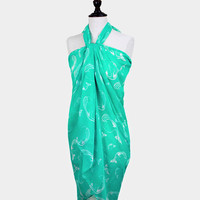 Mint Green Dolphin Print Pareo / scarf / sarong / wrap / cover up / multi-way scarf / sea life / nautical scarf