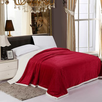 Cozy Home Luxurious Reversible Sherpa Lining Carved Velboa Comforter - Queen (Scarlet Red)