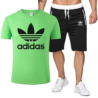 ADIDAS Tide brand simple short-sleeved sports suit two-piece green