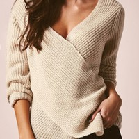 At A Crossroad Beige Long Sleeve Chunky Cross Wrap V Neck Tunic Pullover Sweater