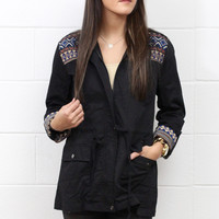 Tribal Accent Utility Jacket {Black}