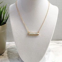 White Marble Stone Bar Necklace