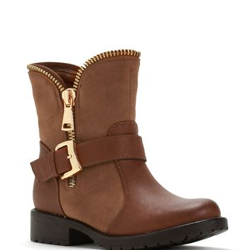 Sale-brown Exposed Zipper Boots