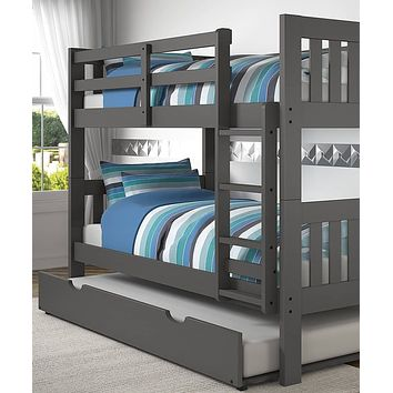 Gavin Gray Bunk Bed with Trundle
