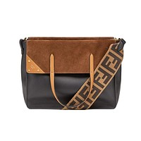 Fendi Flip Black Leather Brown Suede Large Satchel 8BT303