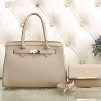 Hermes Women Fashion Leather Satchel Tote Handbag Shoulder Bag Crossbody Set Two-Piece-3
