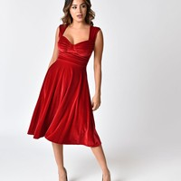 Bettie Page Red Velvet Sleeveless Holiday Swing Dress
