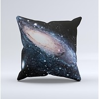 Swirling Glowing Starry Galaxy  Ink-Fuzed Decorative Throw Pillow